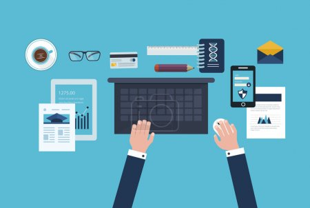 Photo for Flat design vector illustration concept icons set of business workflow and elements, electronic devices, business consulting and online education - Royalty Free Image