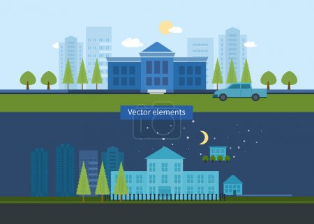 Illustration for School and university building icon. Vector illustration - Royalty Free Image