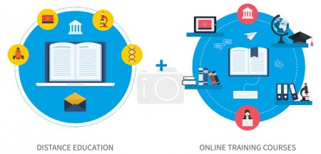 Illustration for Flat design modern vector illustration icons set of online education and e-learning. Online course from universities and colleges proposes video-on-demand, forum, communication - Royalty Free Image