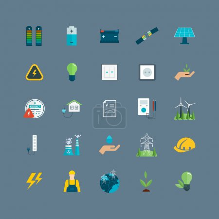 Photo for Power energy, eco friendly and green energy icons set - Royalty Free Image