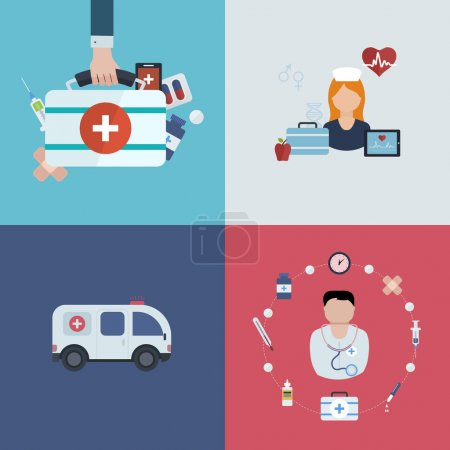 Medical help, ambulance icons