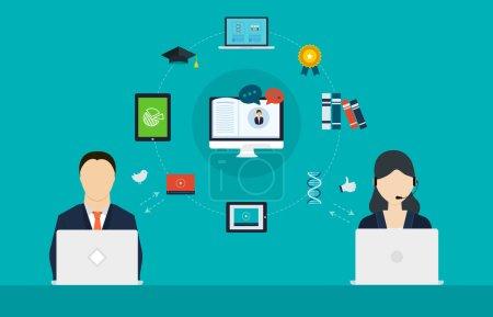Illustration pour Concept de services de conseil, de gestion de projet, de planification stratégique, d'éducation en ligne, d'éducation à distance et d'apprentissage en ligne - image libre de droit