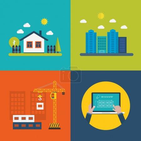 Illustration for Flat design vector concept illustration with icons of building construction, urban landscape, farmhouse, design of buildings - Royalty Free Image