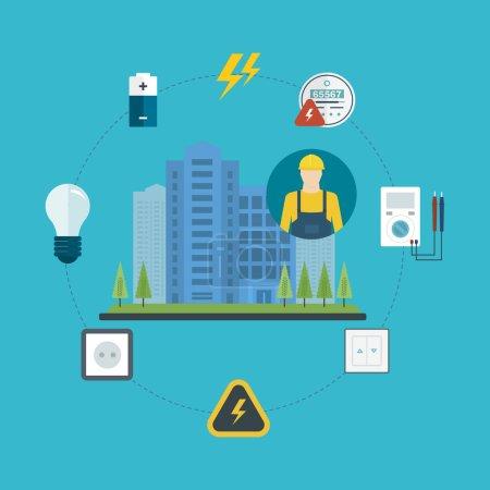 Electricity city concept