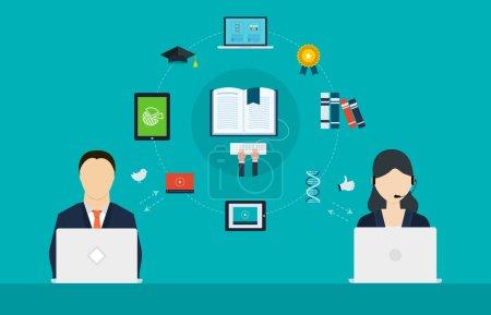 Illustration pour Concept de services de conseil, gestion de projet, planification stratégique, éducation en ligne, enseignement à distance et e-learning - image libre de droit