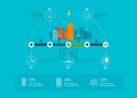 Photo for Infographic elements flat design. City landscape. Flat design vector concept illustration with icons of ecology, environment and eco friendly energy - Royalty Free Image