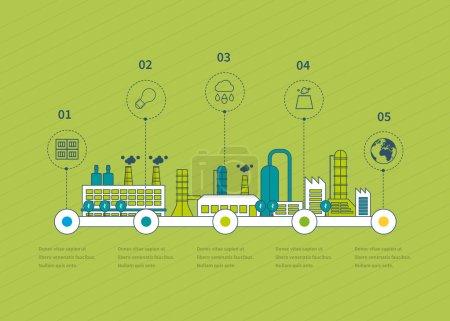 Illustration pour Usine industrielle bâtiments illustration chronologie éléments infographiques design plat. Icônes de ligne mince - image libre de droit