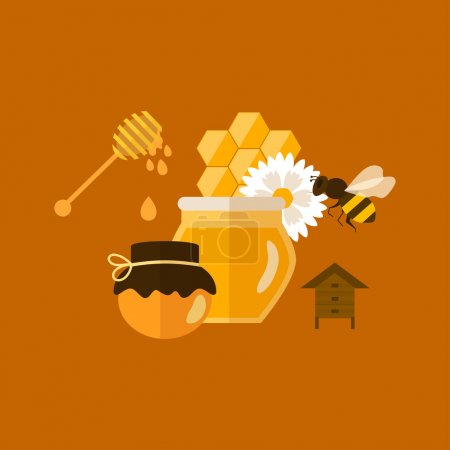 Photo for Flat design vector concept illustration with icons of products bee-keeper and best product organic natural honey bee - Royalty Free Image
