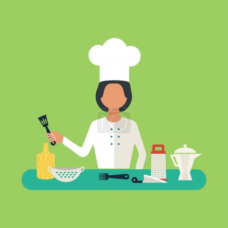 Photo for Flat design concept icons of kitchen utensils with a chef. Cooking tools and kitchenware equipment, serve meals and food preparation elements. - Royalty Free Image