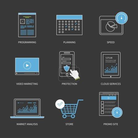 Illustration pour Concept moderne d'illustration vectorielle de conception plate pour la planification, la programmation, le marketing vidéo, la protection, l'analyse de marché et les services de nuage. Graphismes minces de ligne. - image libre de droit