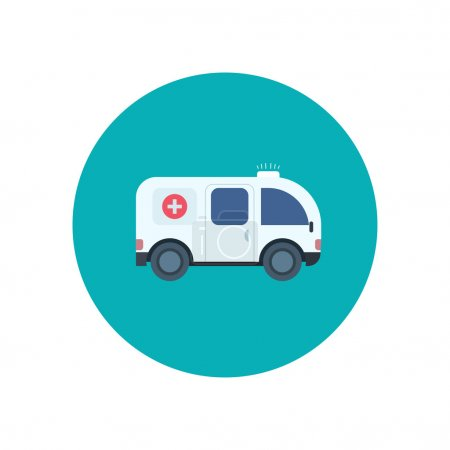 Illustration for Ambulance car icon in flat design style, vector illustration - Royalty Free Image