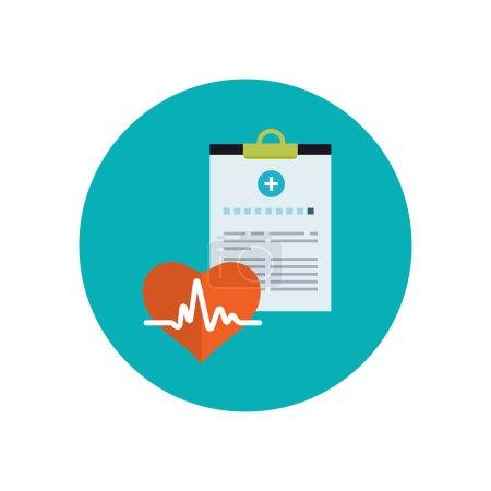Illustration pour Histoire médicale icône plate. Concept de système de santé. Illustration vectorielle - image libre de droit