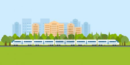 Illustration for Flat design modern vector illustration icons set of urban landscape and train on railway - Royalty Free Image