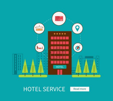 Illustration for Hotel icons set. Online booking of room. Hotel service - Royalty Free Image