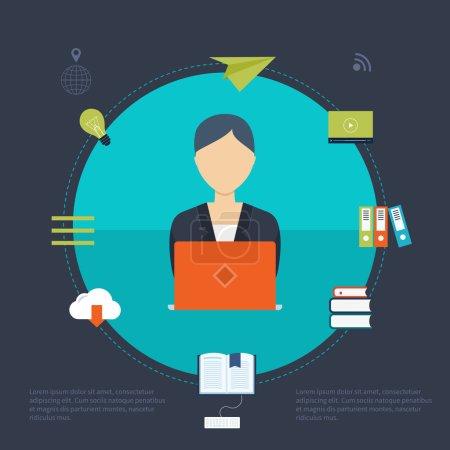 Illustration pour Design plat moderne vectoriel icônes d'illustration ensemble de l'éducation en ligne et e-learning. Cours en ligne des universités et collèges propose la vidéo sur demande, forum, communication . - image libre de droit