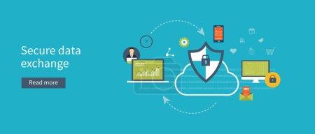 Illustration pour Ensemble de concepts d'illustrations vectorielles plates pour la protection des données, le cryptage des données et l'échange sécurisé de données. Concepts pour les bannières web et les documents imprimés . - image libre de droit