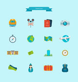 Travel icons set planning a summer vacation and tourism Flat icons vector illustration