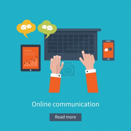 Illustration for Set of flat design vector illustration concepts for online communication and social media. Concepts for web banners and printed materials. - Royalty Free Image