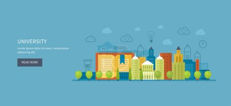icons set of urban landscape and education