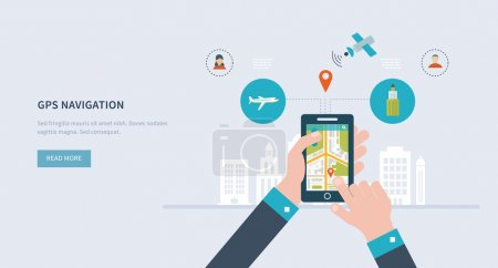 Photo for Vector illustration concept of holding smart-phone with mobile navigation. Flat design modern vector illustration icons set of urban landscape and city life. Building icon. - Royalty Free Image