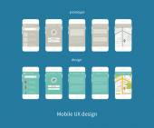 Flat vector collection of modern mobile phones with different user interface elements Steps for creating mobile applications: prototype and design