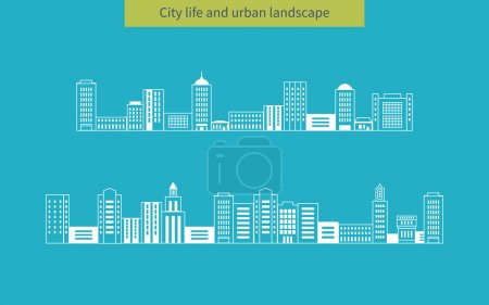 Illustration for Flat design modern vector illustration icons set of urban landscape and city life. Buildings thin line icons - Royalty Free Image