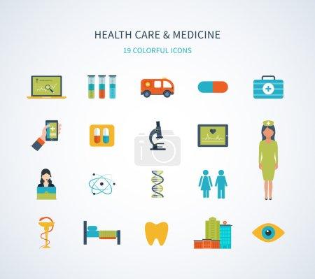 Illustration pour Conception plate concept d'illustration vectorielle moderne pour les soins de santé, l'aide médicale, le centre médical et la construction d'hôpitaux, les services médicaux en ligne et le soutien . - image libre de droit