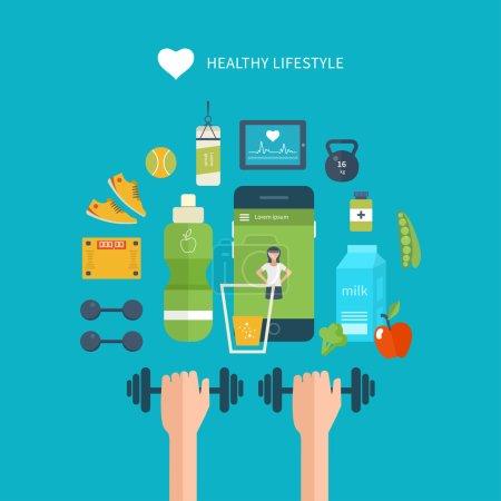 Illustration pour Icônes vectorielles plates modernes d'un mode de vie sain, de fitness et d'activité physique. Régime alimentaire, l'exercice dans le gymnase, l'équipement d'entraînement et les vêtements. icônes de bien-être pour site Web et application mobile - image libre de droit