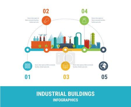 Illustration for Industrial factory buildings illustration timeline infographic elements flat design. - Royalty Free Image