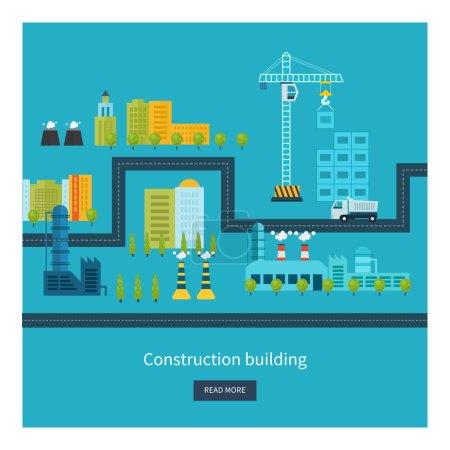 icons of building construction, urban landscape