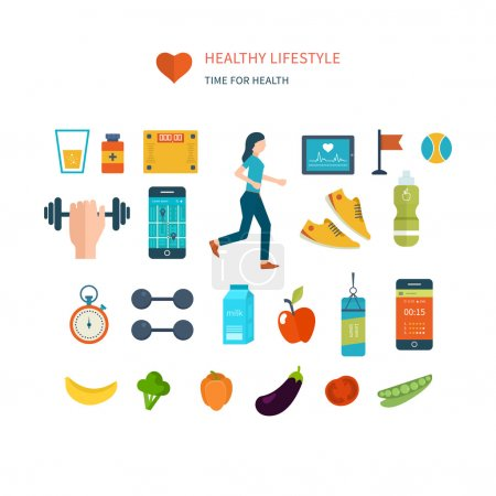 icons of healthy lifestyle, fitness