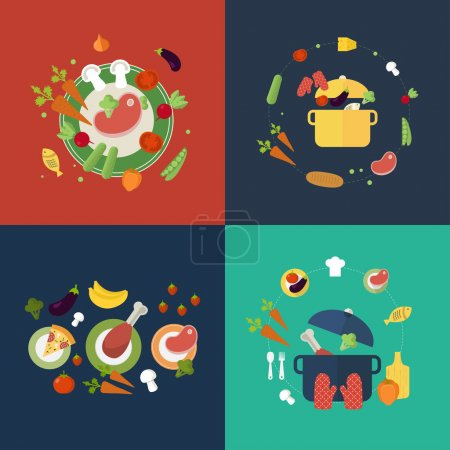 Photo for Set of flat design concept icons for food and restaurant. Icons for cooking, fruits and vegetables, vegetarian food. - Royalty Free Image