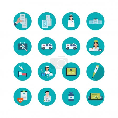 Illustration for Flat design modern vector illustration concept for healthcare, medical help, medical center and hospital building, online medical services and support. - Royalty Free Image