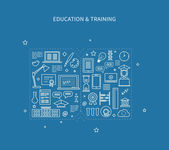 Flat design modern vector illustration icons set of distance education e-learning courses and training All elements are presented as a book
