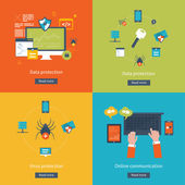Set of flat design vector illustration concepts for data protection data encryption and secure data exchange Concepts for web banners and printed materials