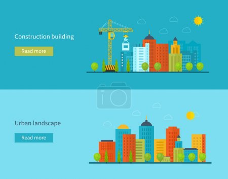 Photo for Flat design vector concept illustration with icons of building construction, city life and urban landscape. Concept vector Illustration in flat style design. Real estate concept illustration. - Royalty Free Image