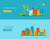 Flat design vector concept illustration with icons of building construction city life and urban landscape Concept vector Illustration in flat style design Real estate concept illustration