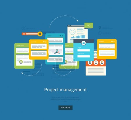 Illustration pour Conception plate concepts d'illustration pour l'analyse et la planification d'entreprise, le conseil, le travail d'équipe, la gestion de projet et le développement. Concepts bannière web et matériaux imprimés . - image libre de droit