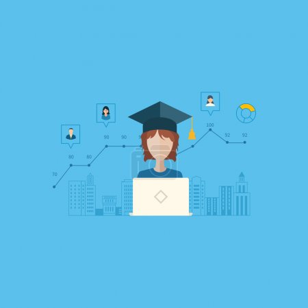 Illustration for Flat design modern vector illustration icons set of online education and e-learning. Schedule online learning students - Royalty Free Image