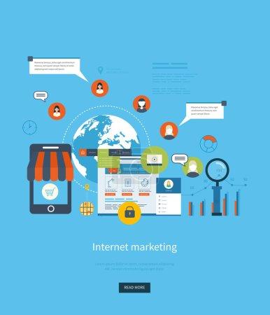 Illustration pour Ensemble d'icônes de concept de conception plate pour les services et applications de téléphone web et mobile. Icônes pour le marketing Internet, le shopping en ligne, la gestion de projet, le travail d'équipe, le conseil et le développement - image libre de droit
