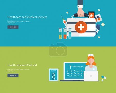 Illustration for Set of flat design vector illustration concepts for health care, education, online medical services and support. Concept for banners and printed materials - Royalty Free Image