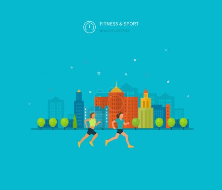 Illustration for Modern flat vector icons of healthy lifestyle, fitness and physical activity. Healthy lifestyle concept. - Royalty Free Image