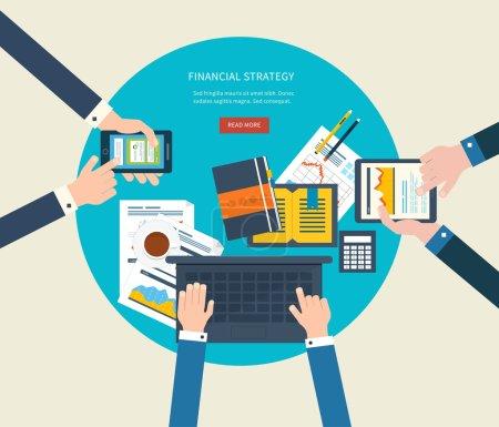 Illustration pour Conception plate concepts d'illustration pour l'analyse et la planification d'entreprise, le travail d'équipe, le rapport financier, la gestion de projet et le développement. Concepts bannière web et matériaux imprimés . - image libre de droit