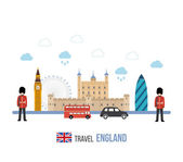 London United Kingdom flat icons design travel concept London travel Historical and modern building Vector illustration