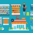 Supermarket store concept with food assortment, op...