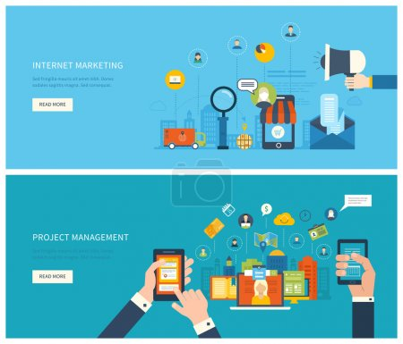 project management and internet marketing concept
