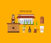 Coffee shop illustration design elements