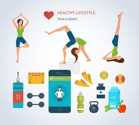 Icons of healthy lifestyle, fitness and physical activity