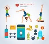 Icons of healthy lifestyle fitness and physical activity
