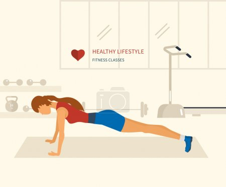 Woman push-up in fitness gym